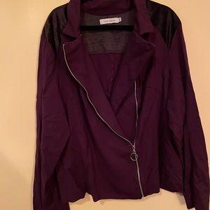 asymmetric zip purple jacket